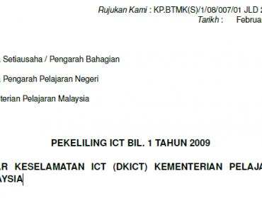 Pekeliling Dasar Keselamatan ICT (DKICT) Kementerian Pelajaran Malaysia