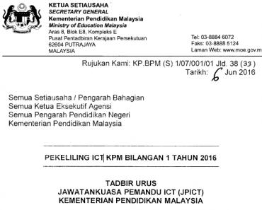 Pekeliling Tadbir Urus Jawatankuasa Pemandu ICT JPICT Kementerian Pendidikan Malaysia