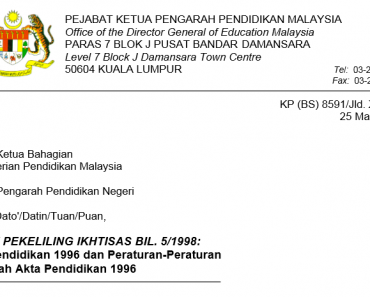 Akta Pendidikan 1996 dan Peraturan-Peraturan Di Bawah Akta Pendidikan 1996
