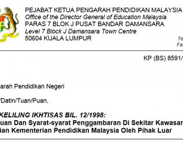 Garis Panduan Dan Syarat-syarat Penggambaran Di Sekitar Kawasan Jabatan Dan Bahagian Kementerian Pendidikan Malaysia Oleh Pihak Luar