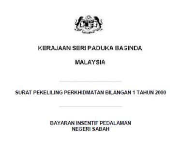SPP Bil.01/2000 Pekeliling Bayaran Insentif Pedalaman Negeri Sabah