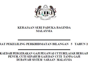 vPekeliling Kaedah Pergerakan Gaji Pegawai Cuti Belajar Bergaji Penuh, Cuti Separuh Gaji dan Cuti Tanpa Gaji di Bawah Sistem Saraan Malaysia