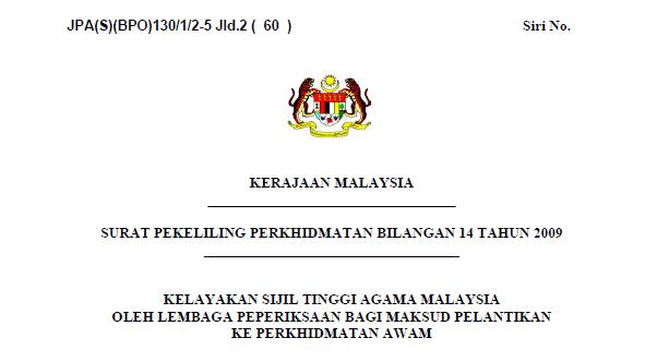 Pekeliling Kelayakan Sijil Tinggi Agama Malaysia Oleh Lembaga Peperiksaan Bagi Maksud Pelantikan Ke Perkhidmatan Awam
