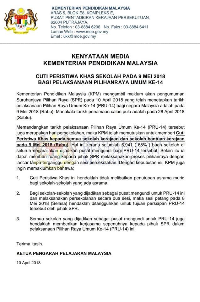 Kenyataan Media KPM Cuti Peristiwa Khas Sekolah Pada 9 Mei 2018 Bagi Pelaksanaan Pilihan Raya Umum ke-14