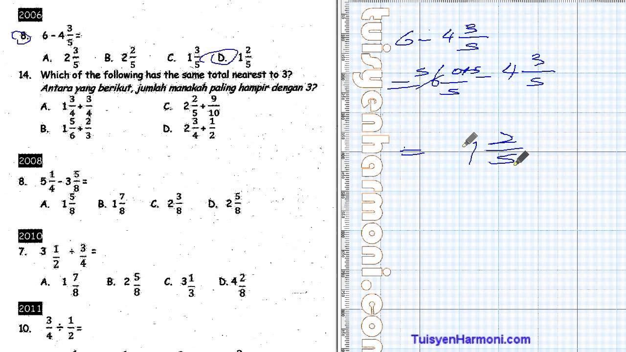 Nota Padat Matematik Tahun 3 Yang Sangat Berguna soalan Upsr Sebenar Math Pecahan Tahun 5 Youtube Of Senarai Nota Padat Matematik Tahun 3 Yang Terbaik Untuk Guru-guru Cetakkan