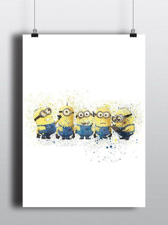 A2 Size Poster Terhebat Minions Poster Print Watercolour A2 Size Resizable Digital