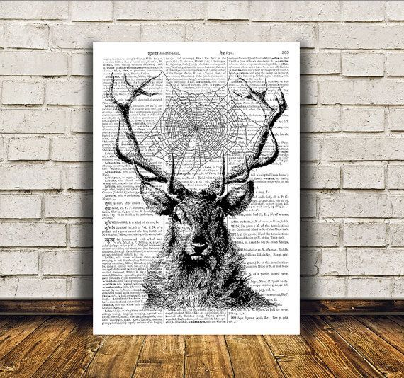 nice dictionary print deer poster animal art cool wall decor for home and office sizes a4 8 3 x 11 and a3 11 6 x 16 3 buy 1 get 1 free