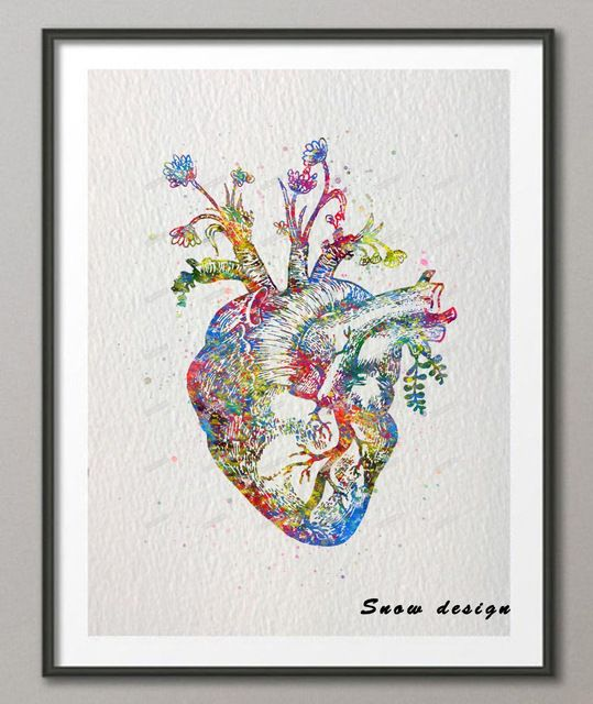 original watercolor human heart canvas painting organ wall art poster print pictures living room home decoration