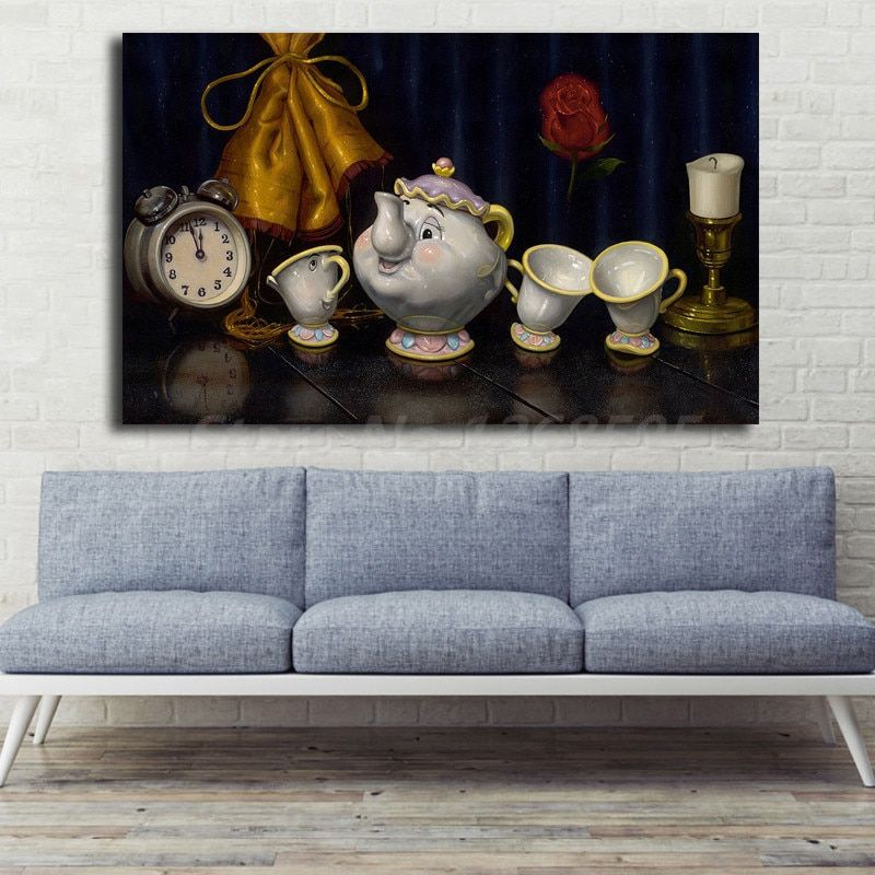 beauty and the beast time for tea canvas posters prints wall art painting decorative picture artwork