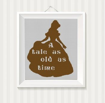 a tale as old as time silhouette cross stitch pattern in pdf vandihand on artfire
