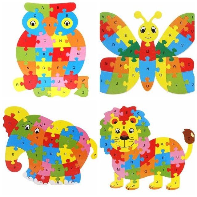 bohs kayu hewan bahasa inggris 26 abjad huruf jigsaw puzzle anak usia 3 5