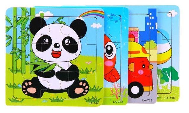 lucu kartun hewan puzzle intelijen kayu anak anak pendidikan bayi mainan game gambar jigsaw puzzle