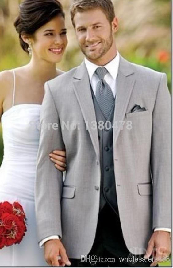 2016 custom made dua tombol groom tuksedo ligh abu abu pria terbaik notch lapel pengiring mempelai pria men pernikahan setelan mempelai pria jaket celana