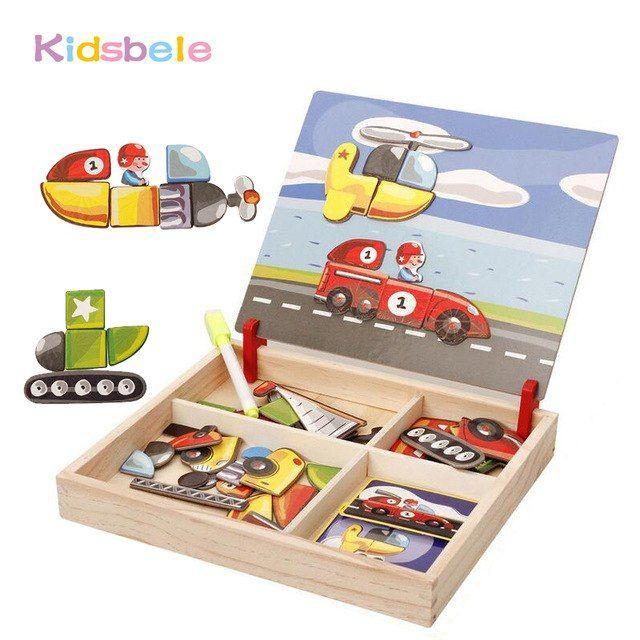 anak anak kayu mainan kendaraan magnet 3d teka teki papan gambar jouet pendidikan blok
