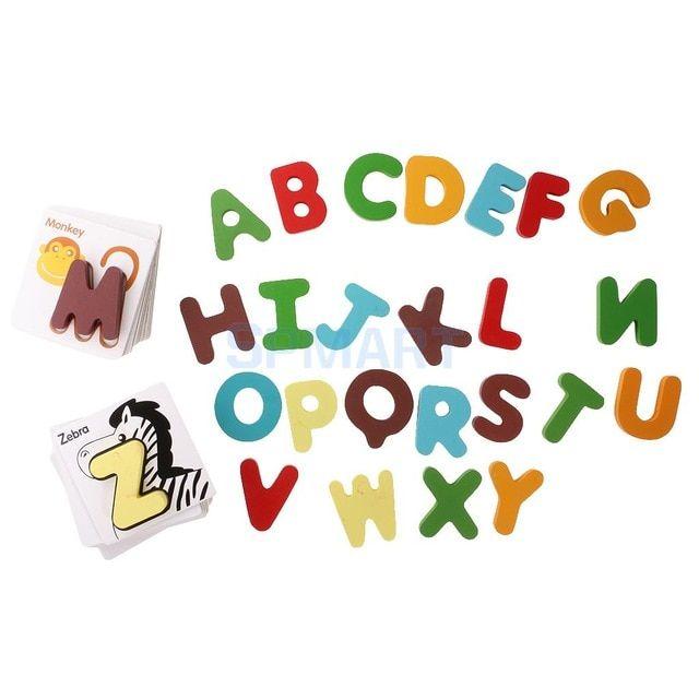 kayu pendidikan awal bayi preschool belajar abc alphabet surat kartu kognitif mainan teka teki hewan