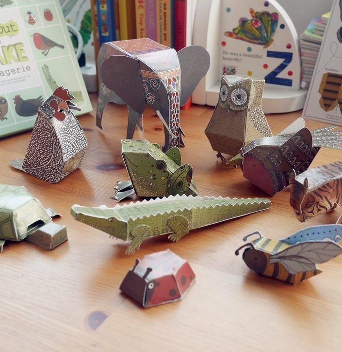 12 pcs pack kardus hewan 3d teka teki diy potongan kertas kebun binatang buku anak anak mainan anak anak pendidikan hadiah natal inggris