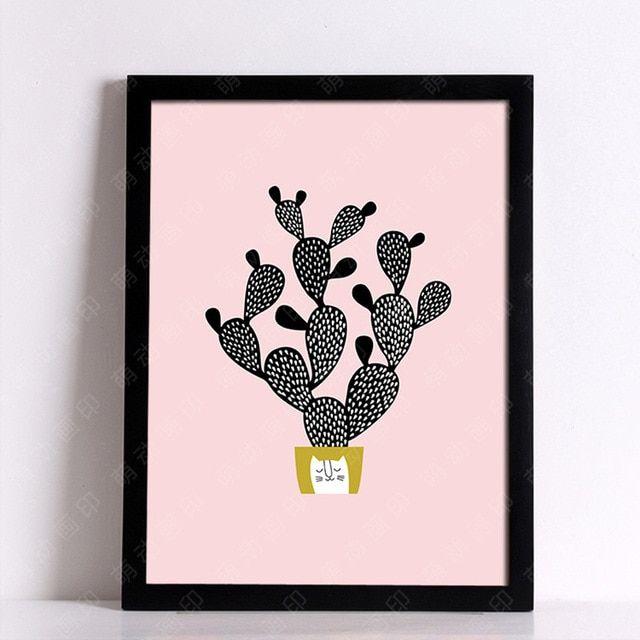 m29 kartun kucing dan kaktus lukisan poster kreatif homey dibingkai kanvas lukisan poster dinding gambar