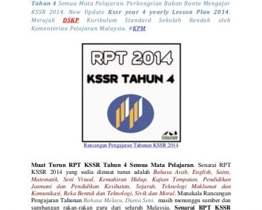Download Rpt Dunia Sains & Teknologi Tahun 2 Menarik Rpt Kssr Tahun 4 2014 Yearly Lesson Plan 2014