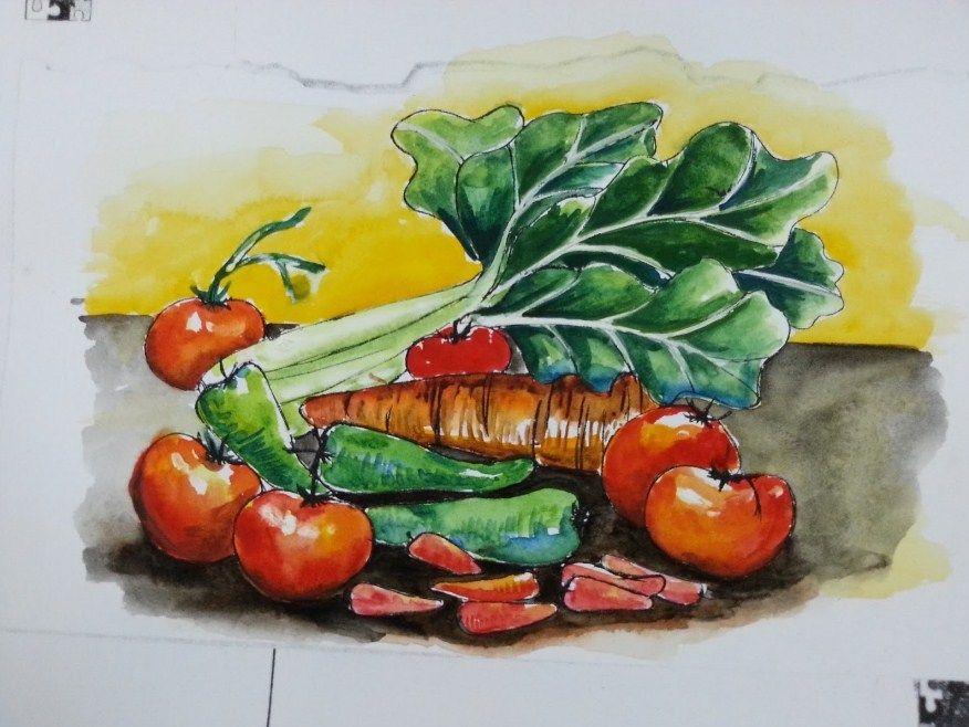 lukisan buah buahan dan sayur sayuran