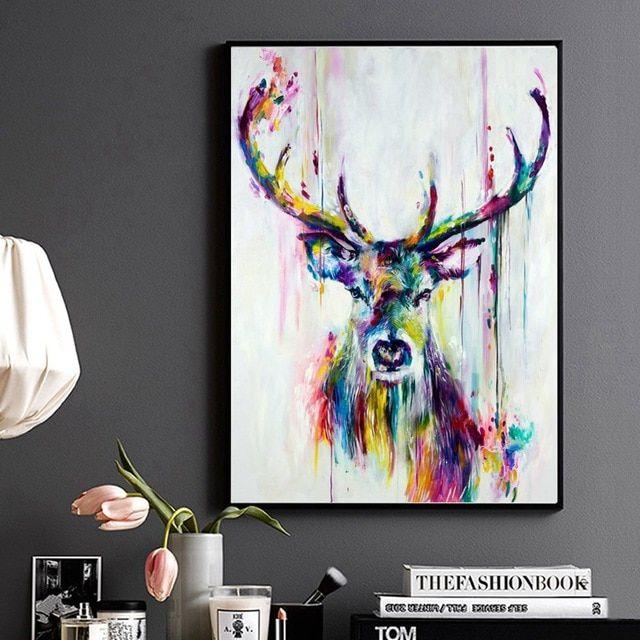 hewan poster abstrak cetak cat air kepala rusa rusa dinding art lukisan untuk rumah kantor dekorasi