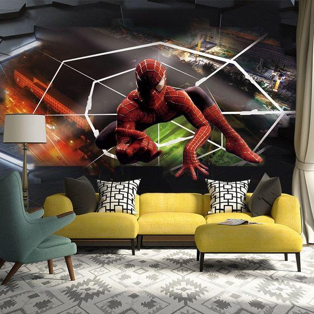 spiderman foto wallpaper mural modern 3d kertas dinding kamar anak anak ruang tamu kamar tidur