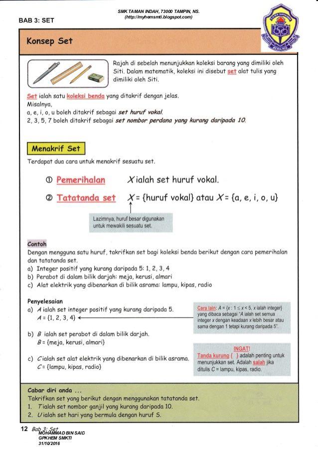 Kuiz Matematik Tingkatan 1 Penting Nota Matematik Tingkatan 4