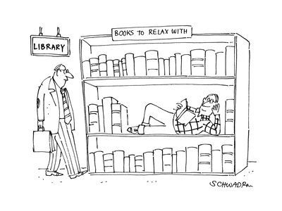 library cartoon books to relax with