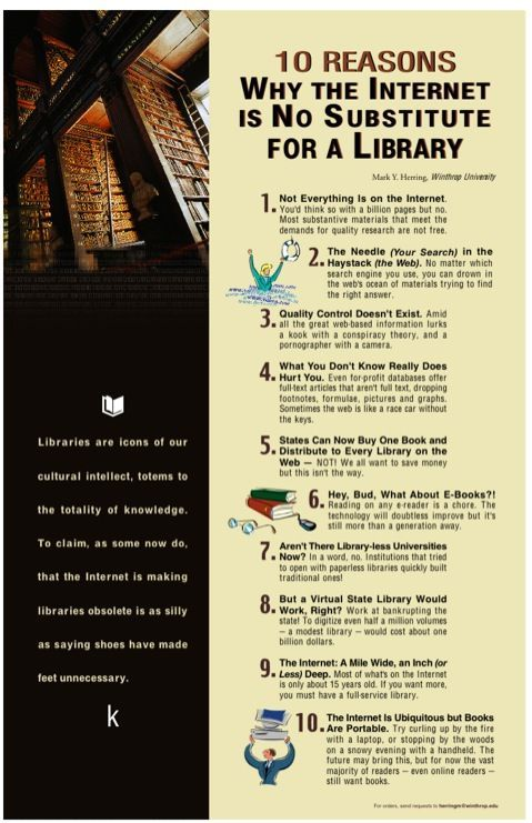 Library Poster Terhebat 10 Reasons why the Internet is No Substitute for A Library Also