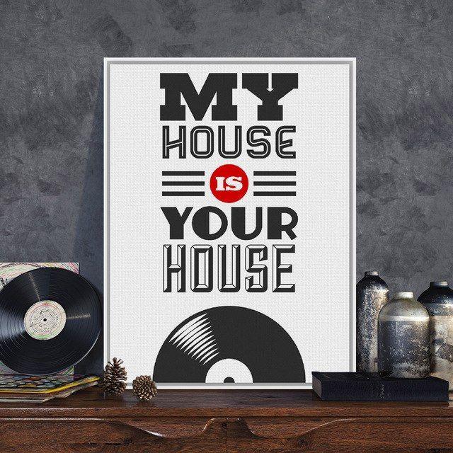 modern pop vintage musik rumah saya adalah rumah anda a4 besar surat quotes poster cetakan asli kanvas lukisan rumah wall art hadiah di painting