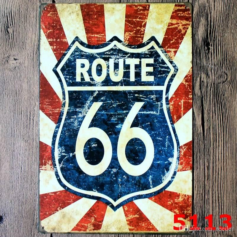 Retro Design Poster Penting Route 66 Design Vintage Style Iron Painting for Living Room Creative
