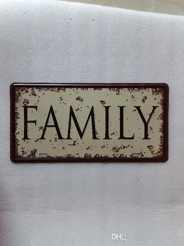 2018 family retro 3d embossed vintage metal plaque car number retro licence plate tin sign bar pub home cafe wall decor retro metal art poster from
