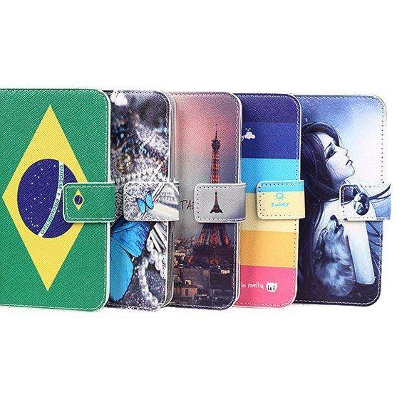 untuk gigabyte gsmart arty a3 kasus busana pu berdiri slot kartu dompet kulit penutup kartun lukisan hadiah lanyard