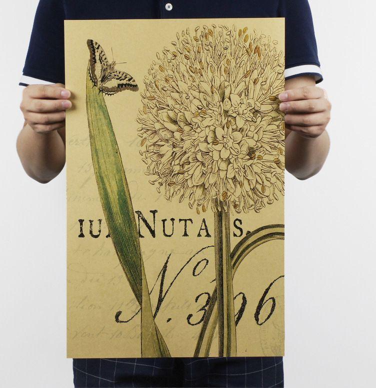 herbal a daun vena pola botani tanaman kertas kraft bar poster retro poster dekoratif lukisan 51x35 5 cm gratis pengiriman