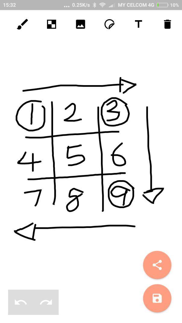 untuk sifir 9 kekiri dan sifir 7 keatas anak panah ini penting untuk anda susun nombor