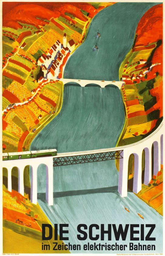 classic art deco travel poster by otto baumberger for the swiss electric railway cff sbb showing the impressive eglisau bridge