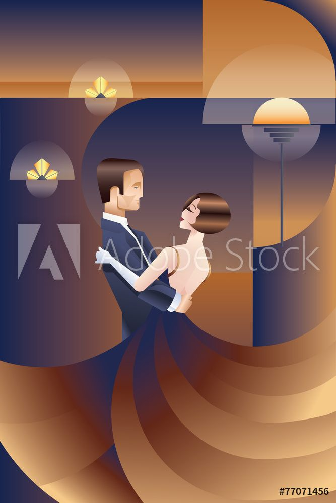 fotografia dancing couple art deco geometric style poster kup na posters pl