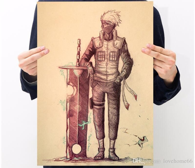 japanese comic brown poster anime naruto uzumaki pinup and mural for your home bar and business brown paper50 35cm wall stickers deco wall stickers decor