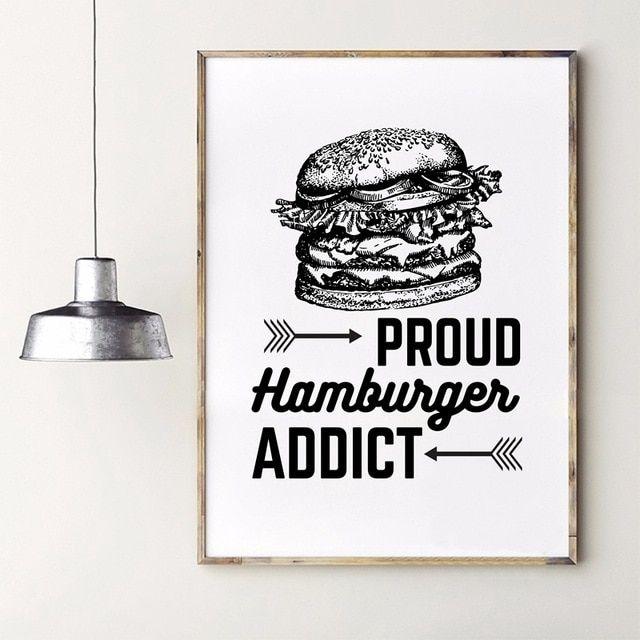 proud hamburger art print poster canvas painting restaurant vintage food burger shop wall art decoration