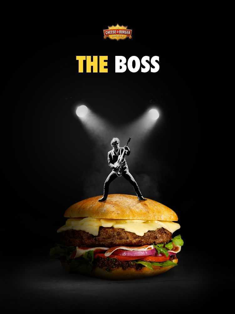 the boss tribute to the iconic cheese burger society receipe poster graphic design advertising campaign burger food art photoshop picture editing bruce