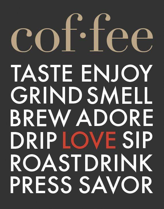 coffee typography print poster art modern kitchen wall decor cafe brew coffee house love brown red baristacoffee