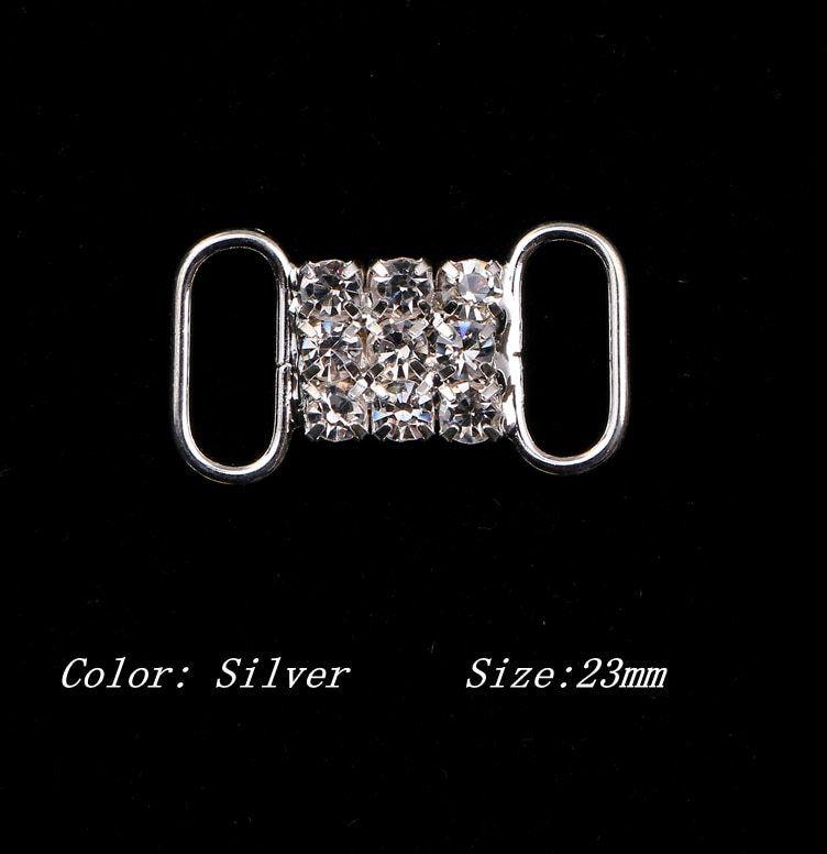 10 pcs bikini berlian imitasi buckle undangan ribbon slider untuk persediaan pesta pernikahan garment aksesoris warna silver buc010