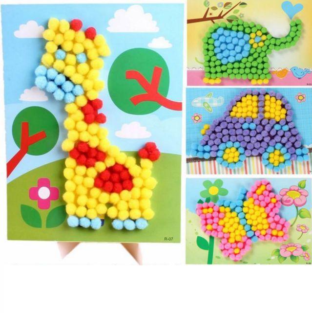 1 pcs set lucu diy bahan buatan tangan bayi anak plush bola lukisan stiker anak