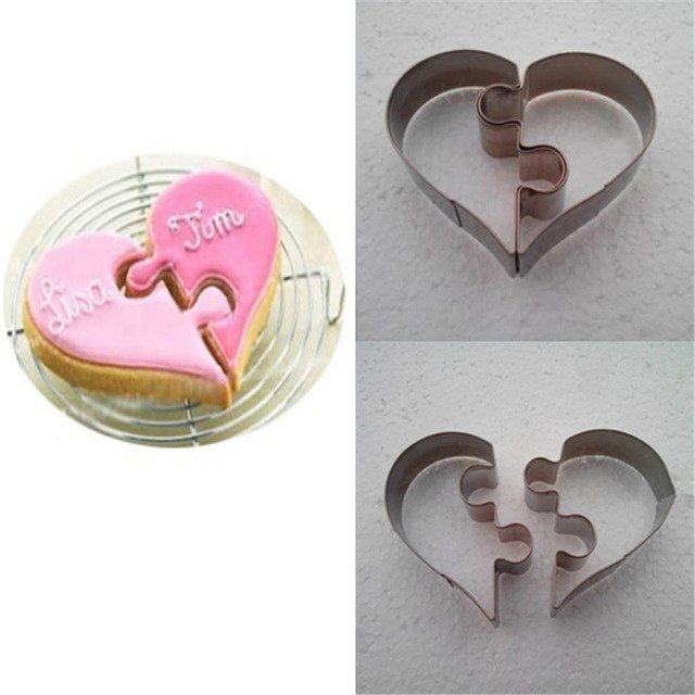 1 set 2 pcs baru cinta teka teki romantis stainless steel cookies cetakan kue