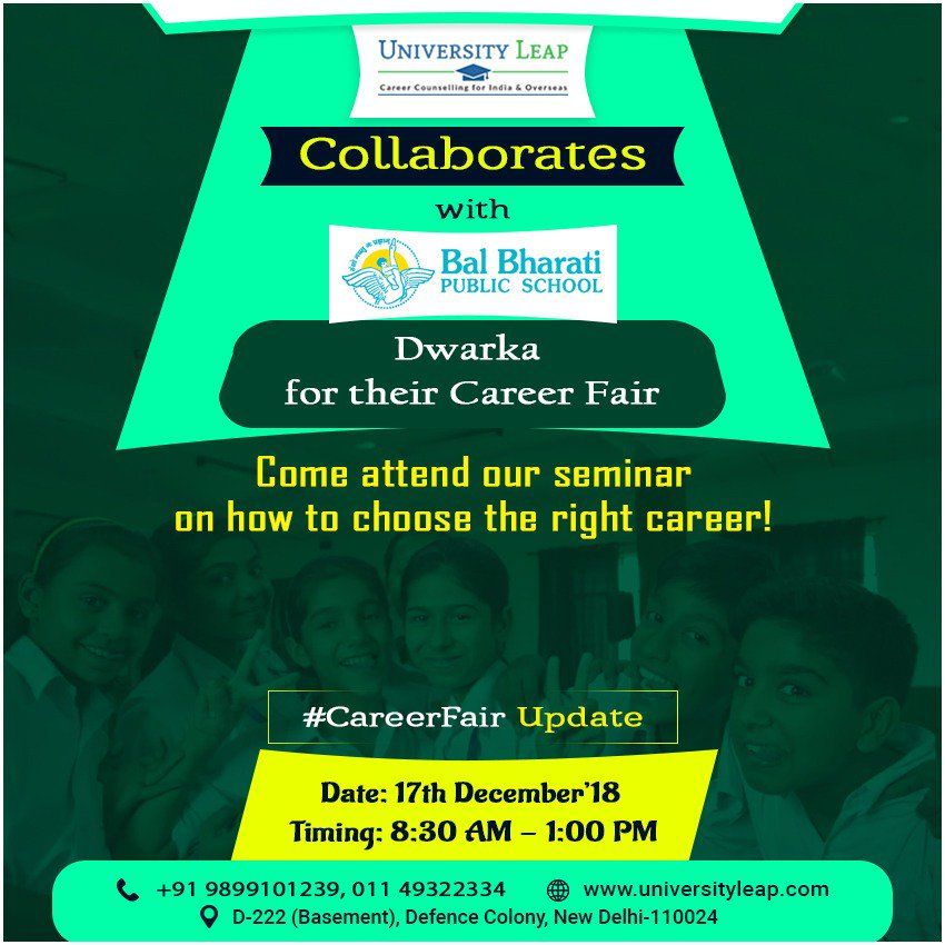 join our seminar from 8 30 am onwards on 17th december 2018 at the school premises defencecolony universityleap newdelhi