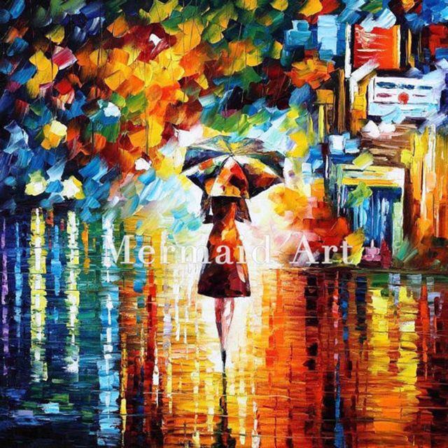 dilukis tangan yang modern artwork landscape hujan putri pisau palet tebal art canvens minyak lukisan dinding