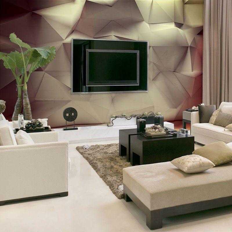 aliexpress com beli modern 3d geometris kertas dinding 3d foto kustom wallpaper lukisan dinding ruang tamu kamar tidur dekorasi rumah diri perekat