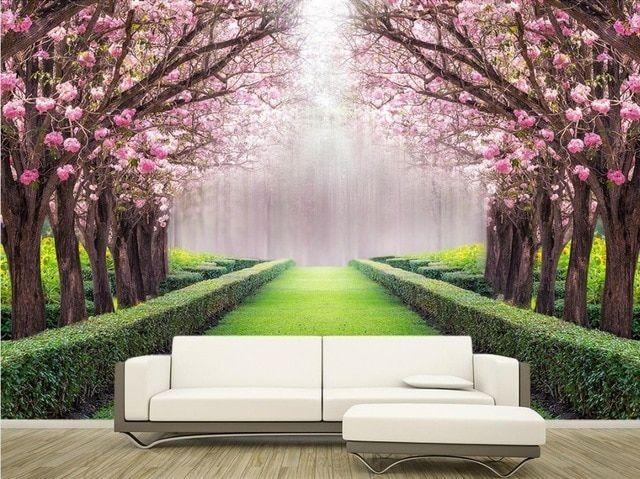 kustom 3d foto dinding bunga kertas dan pemandangan indah avenue klasik lukisan 3d mural wallpaper