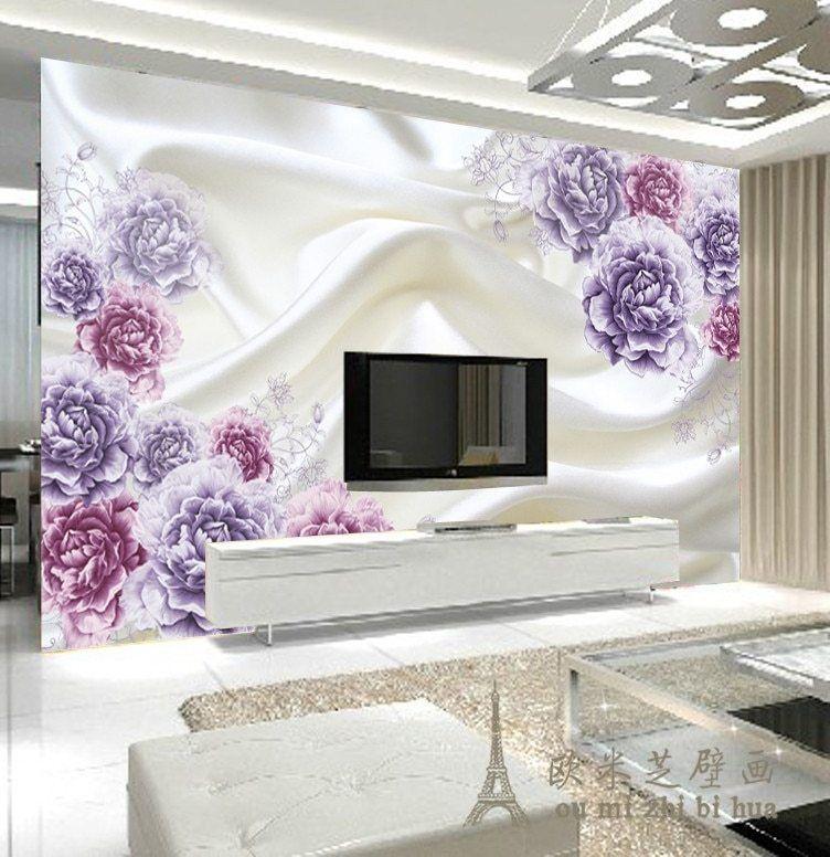 beibehang foto kustom wallpaper besar lukisan dinding latar belakang kertas dinding ruang tamu tv sutra bunga 3d mural kertas dinding