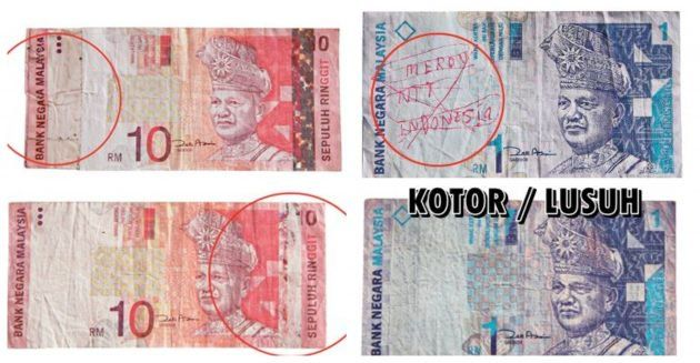 kerosakkan pada duit kertas
