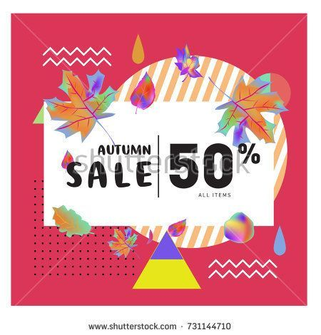 autumn sale memphis style web banner fashion and travel discount poster vector holiday abstract colorful illustration with special offer and promotion